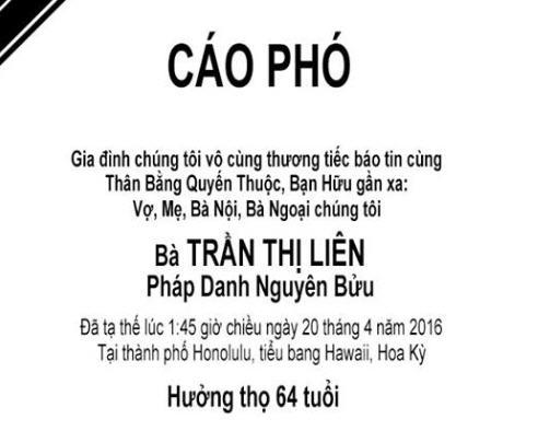 Bà Trần Thị Liên Qua Đời