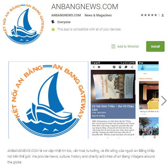 Tin Vui: Anbangnews Mobile App Cho Android Đã Có Trên Google Play