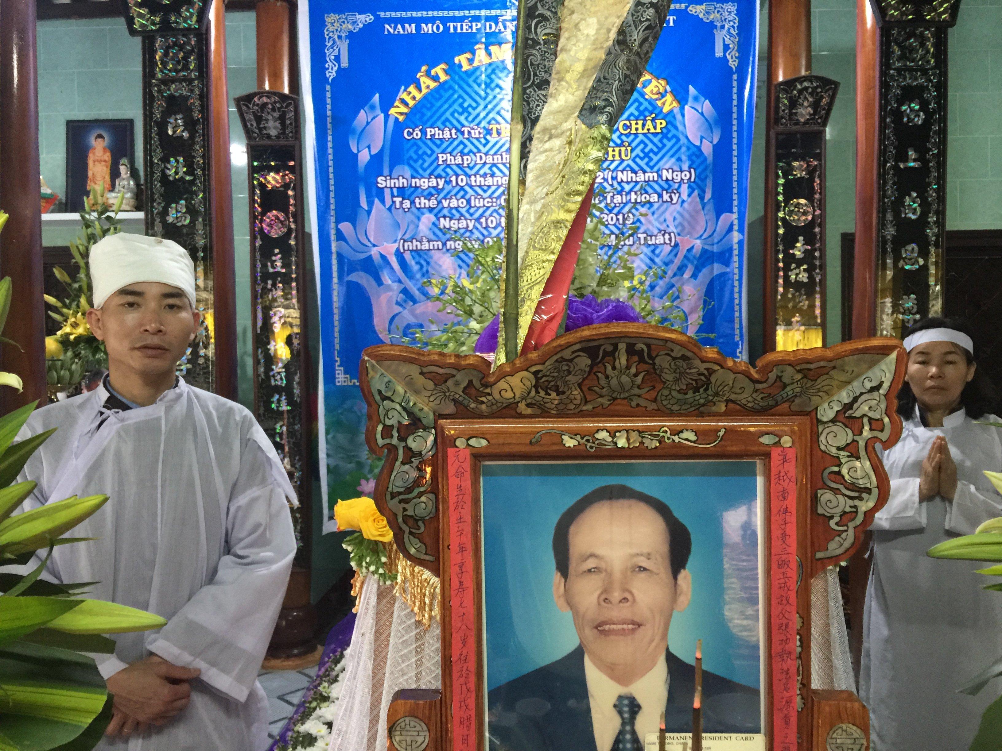 Chương trình tang lễ ông Trương Công Chấp tại Việt Nam.