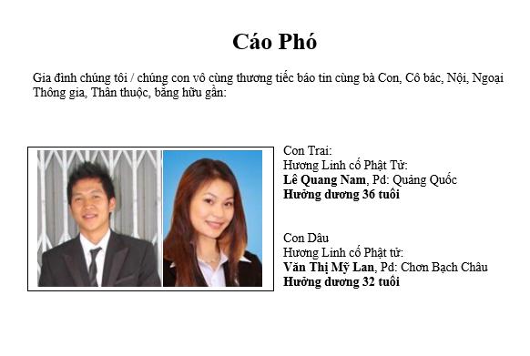 Cáo Phó: Lê Quang Nam và Văn Thị Mỹ Lan