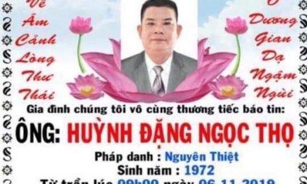 Anh Huỳnh Đặng  Ngọc Thọ qua đời
